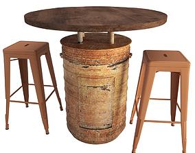 3D Orange Barrel Table and Tolix Barstools