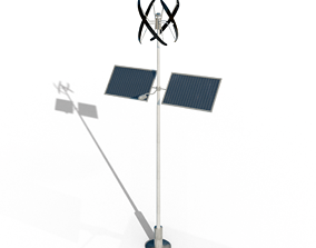 3D model votovoltaic and wind power hybrid eletric pole 1