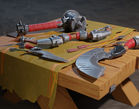 Stylized Medieval Weapons Set Lowpoly PBR 3D model