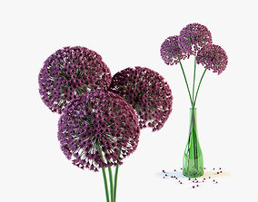 3D Allium flowers in green glass vase