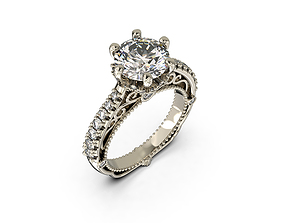 Engagement Ring with Carat Stone 3D print model