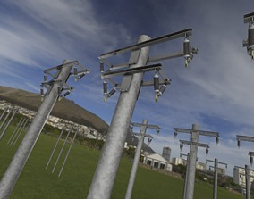 3D asset Steel power pole without ladder - Objekt 065