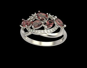 ruby 3D printable model Ring with gems and diamonds
