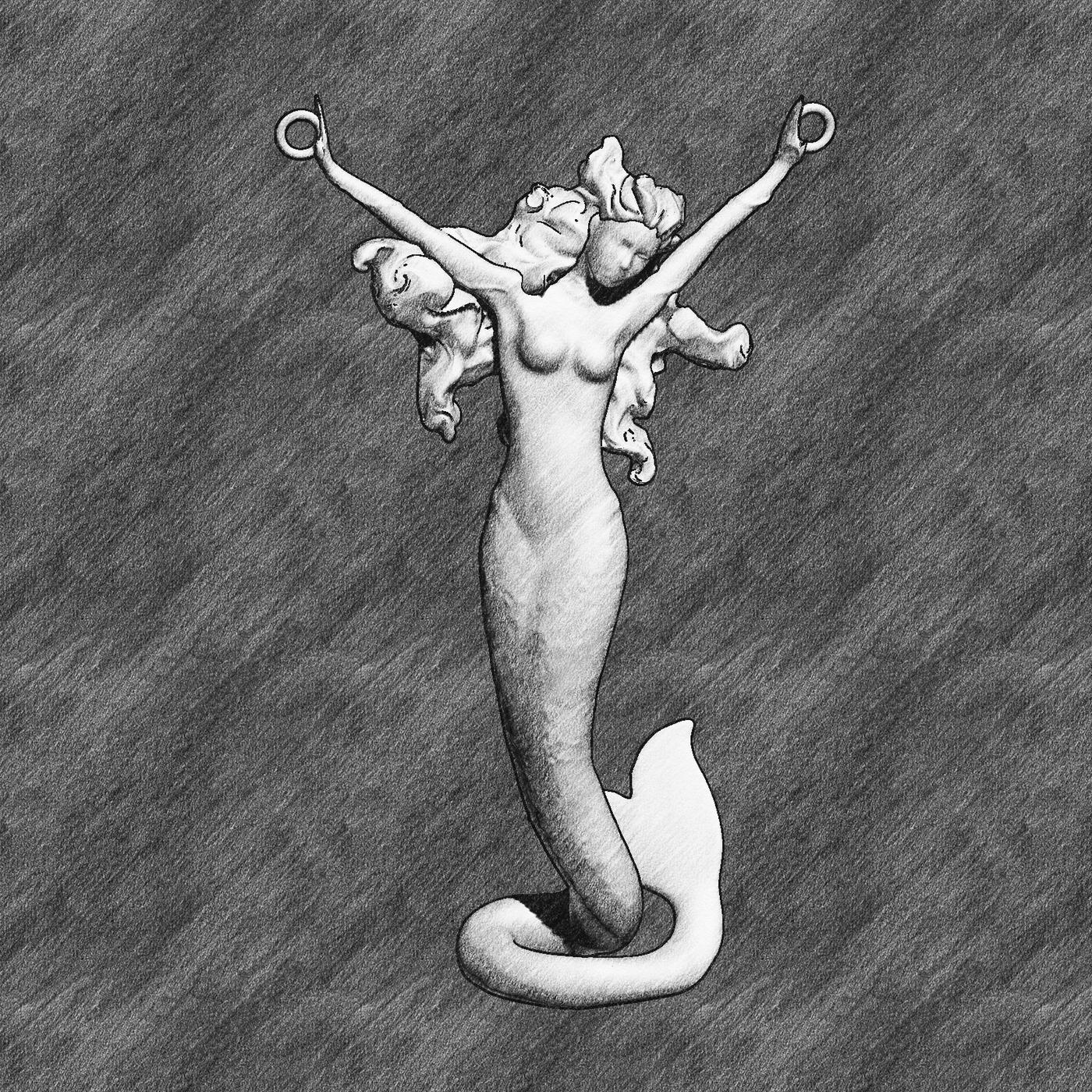 Mermaid Sculpture Pendant Jewelry Gold 3D print model