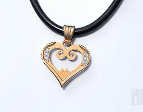 heart pendant with diamonds 3D print model