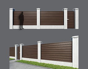 Fence made of corrugated board 5 options 3D