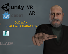 Casual Style - Old Man - Animated Low-Poly 3D asset
