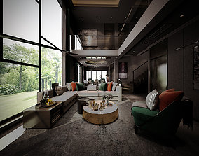 3D living and dinning room