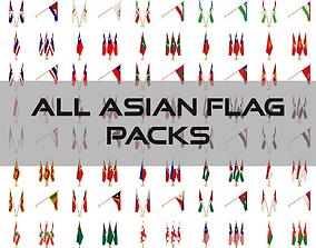 All Asian Flag Packs 3D
