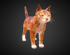 3D model Cat Ginger Low Polygon Art Farm Animal
