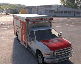 3D asset semi truck ambulance vray