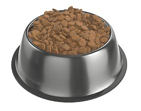 3D dog food bowl with food