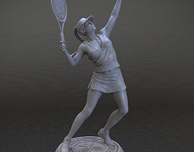3D print model girl playing tennis