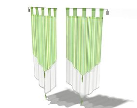 Hanging Green Curtains 3D model