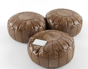 3D Moroccan leather pouffe