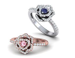 Diamond Flower ring Floral engagement ring Printable 3d