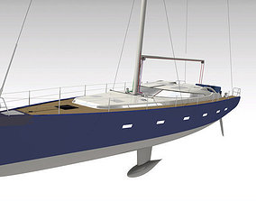 3D rigged Yacht boat
