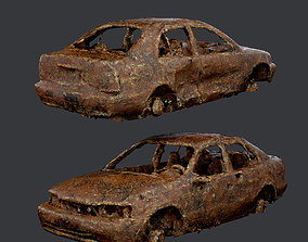 Apocalyptic Damaged Destroyed Vehicle Car 3D asset 2
