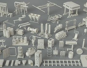 gas 3D model Factory Units-part-4 - 49 pieces