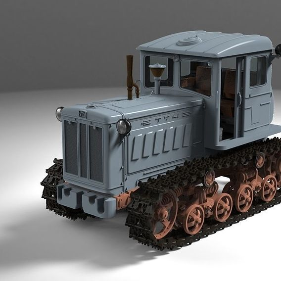 Scale model of tractor T-74