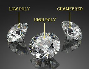 3D asset Round Diamond Brilliant Faceting Ideal Cut