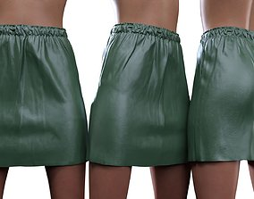 Elastic Leather Skirt 3D
