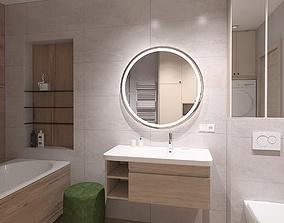 Spacious bathroom with wood imitation tile 3D model