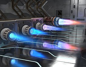 Sci Fi plasma engines and exhausts spaceship 3D