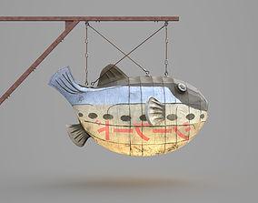Game Ready Japanese Signs Set Fugu Fish Lantern 3D asset