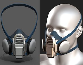 3D model Gas mask respirator military combat