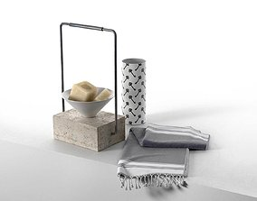 Vase Tray with Soap and Towel 3D model