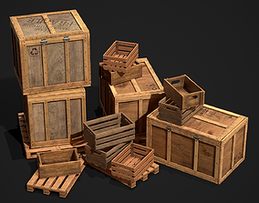 Wooden Crate and Container Packed 3D model low-poly