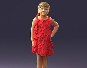 Girl in red dress 0129 3D Print Ready