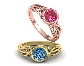 Tree Branch Engagement Ring 1ct gem N0262 3D print model