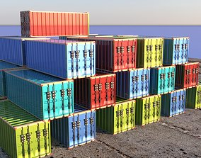 3D model Containers at dock yard