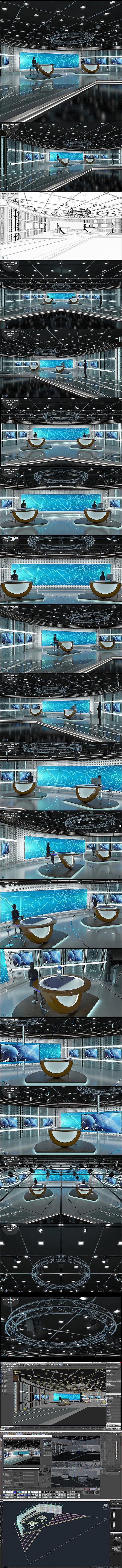Virtual TV Studio News Set 3 - 3D Model Designs