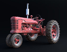 Old Tractor Model with Dirty Textures
