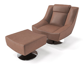 3D MELBOURNE armchair and ottoman Crust leather Chocolate