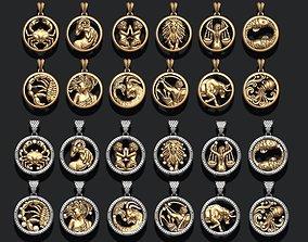 pendant 3D print model jewellery horoscope signes pack