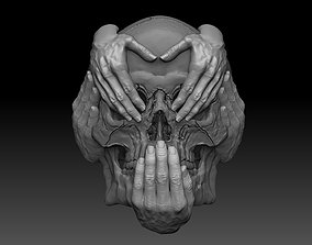 Hear See Speak No EVIL skull bas relief cnc model
