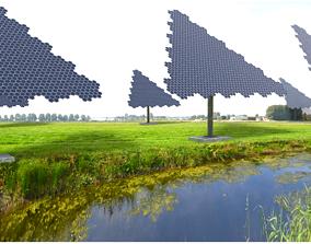 Hexagonal sun following pv solar panel array 3D asset