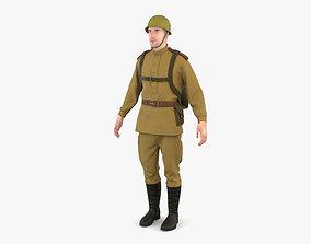 3D model WW2 Soviet Soldier
