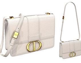 Dior 30 Montaigne Bag White Leather 3D