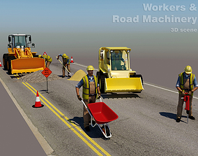 3D Workers with Road Machinery