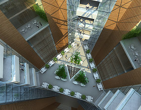 3D interior office building hall