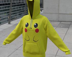 Replaceable print hoodie sweatshirt - female 3D asset