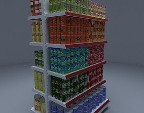 3D model Gondola Shelves with Canned Fruits and