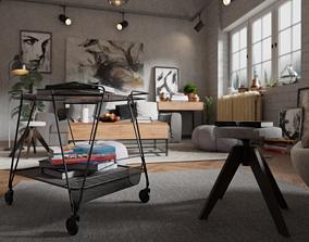 loft Modern Living Room 3D