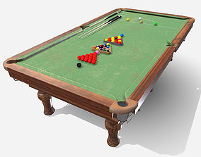 Low Poly PBR Snooker Table 3D asset