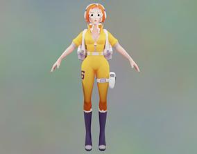 3D model Ultra Lowpoly Healer Girl Full rigged Animated